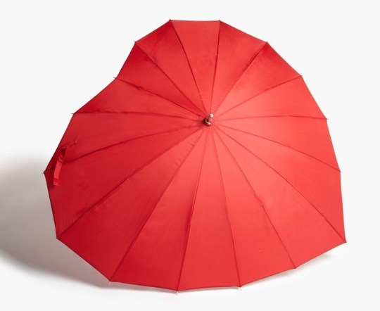 John Lewis Christmas advert 2020 merchandise - red heart shaped umbrella