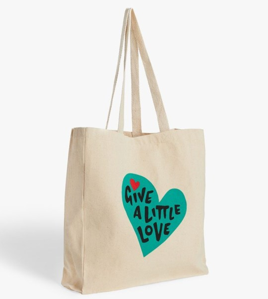 John Lewis Christmas advert 2020 merchandise - give a little love tote bag
