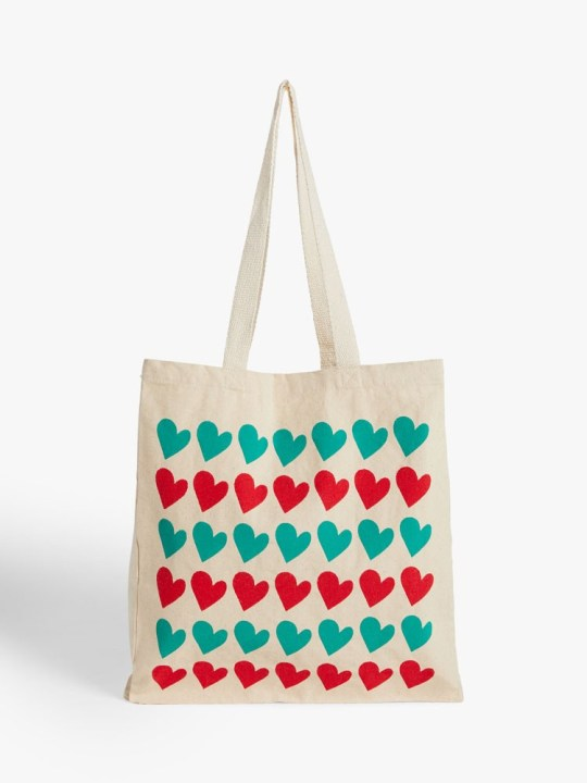 john lewis christmas advert merch: hearts print tote bag
