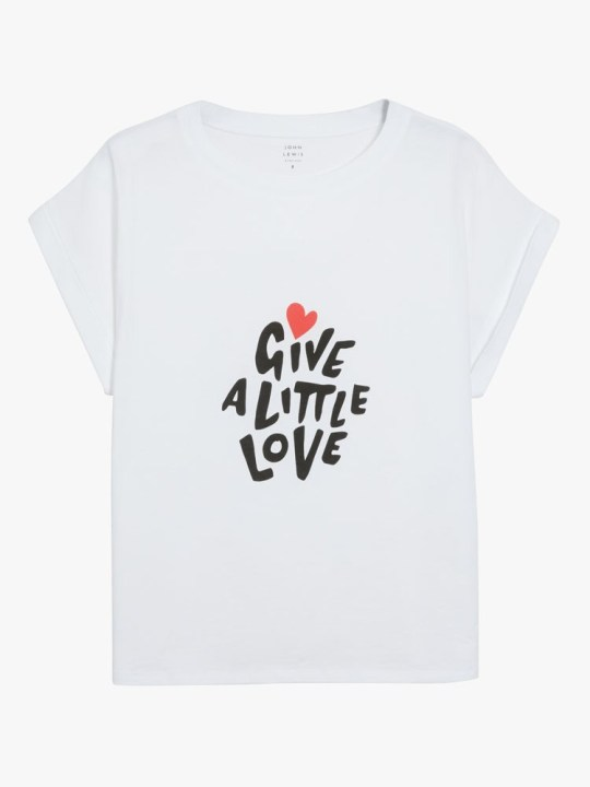 John Lewis Christmas advert 2020 merchandise - give a little love white t-shirt