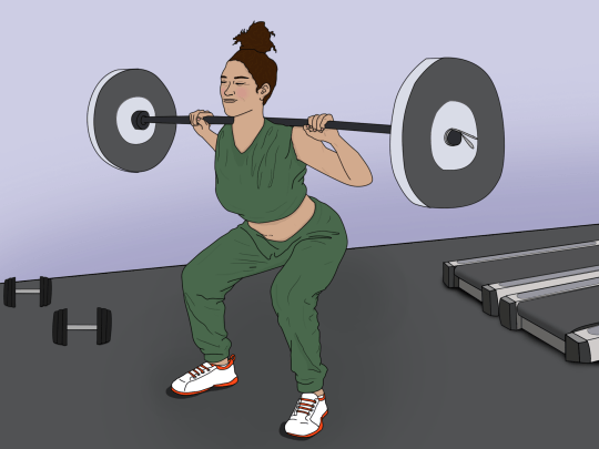 Illustration of woman squatting with weights