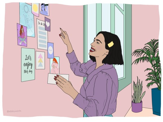 Illustration of a woman setting up posters and notes on her wall