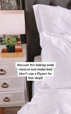 a still from a tiktok showing how to make your bed smell amazing