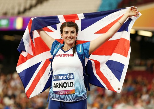 Hollie Arnold of Great Britain celebrates winning gold in the Womens Javelin Throw F46