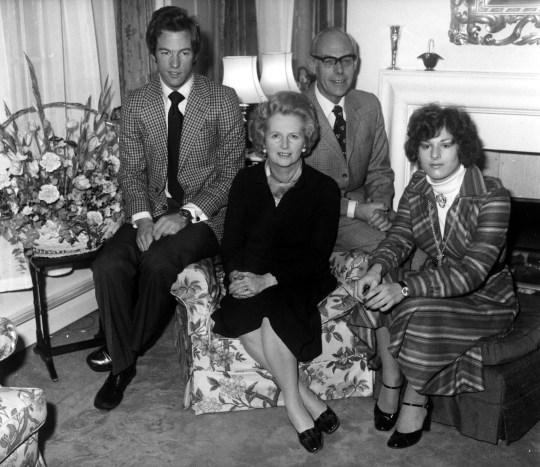 Margaret Thatcher, with husband Denis and children Mark and Carol