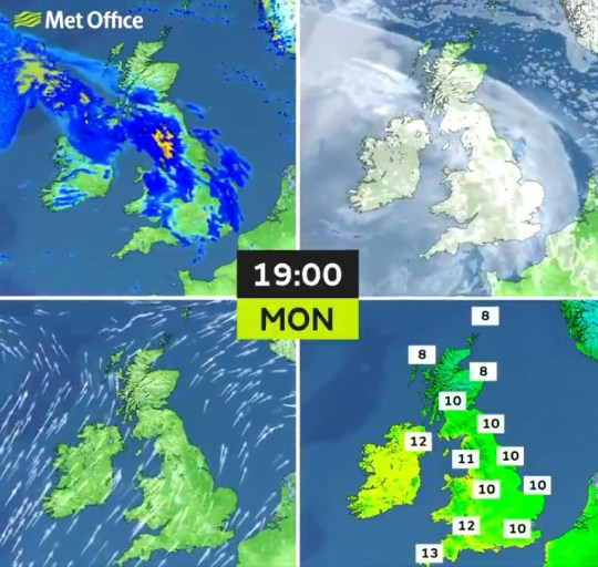 Map showing the temperatures forecast in the UK today