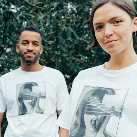 Pair model Wearth London's sustainable, gender neutral t-shirts.