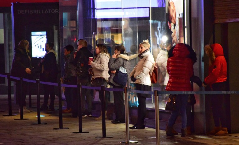 Dated: 02/12/2020 WILD WEDNESDAY STARTS NEWCASTLE 7am Queues outside of Primark on Northumberland street in Newcastle city centre this morning one hour before the store opens at 8am