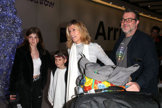 LONDON, ENGLAND - DECEMBER 11: Kate Garraway with her husband Derek Draper, and children Darcey Draper and William Draper arrive at Heathrow Airport after returning from 'I'm A Celebrity... Get Me Out Of Here!' on December 11, 2019 in London, England. (Photo by GC Images/GC Images)