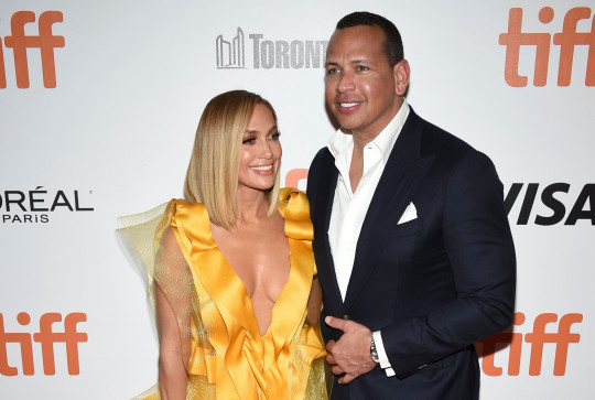 Jennifer Lopez and Alex Rodriguez attend the premiere for Hustlers