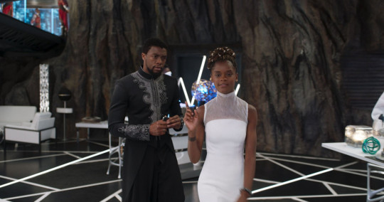 Chadwick Boseman and Letitia Wright in a scene from Black Panther