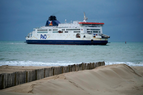 CALAIS, FRANCE - JANUARY 31: P&O ferry Pride of Canterbury arrives at Calais Ferry Terminal on January 31, 2020 in Calais, France. At 11.00pm on Friday 31st January the UK and Northern Ireland will exit the European Union 188 weeks after the referendum on June 23rd 2016. (Photo by Christopher Furlong/Getty Images)