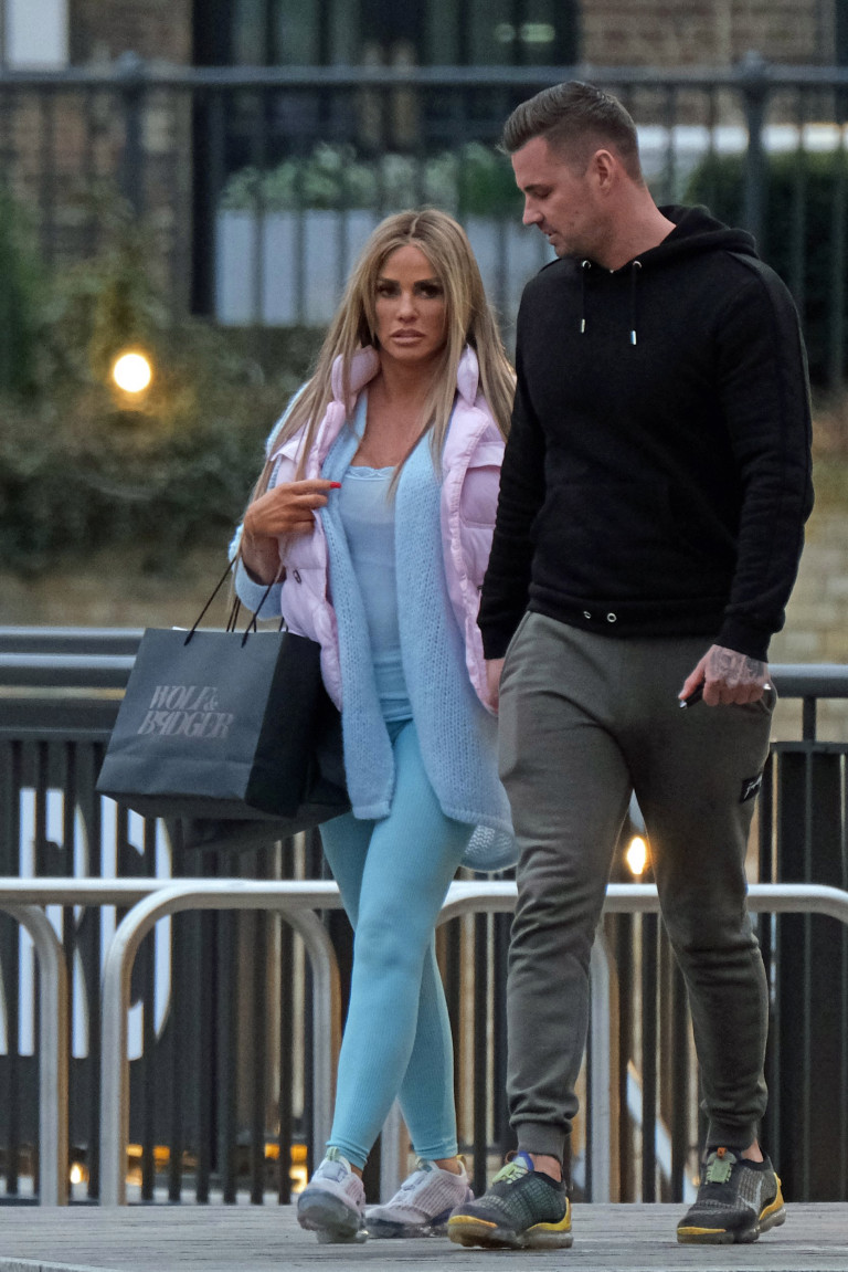 The former glamour model enjoyed some quality time with her other half (Picture: Splash News)