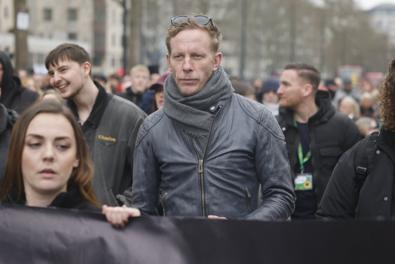 Actor Laurence Fox joins demonstrators on Park Lane during an anti-lockdown protest in central London.