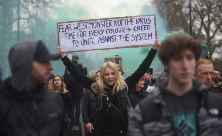 People taking part in a anti-lockdown protest in London's Hyde Park. Picture date: Saturday March 20, 2021. PA Photo. Photo credit should read: Victoria Jones/PA Wire