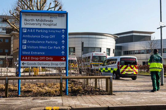 Signage outside the North Middlesex Hospital, Edmunton, London. UK (Photo by In Pictures Ltd./Corbis via Getty Images)