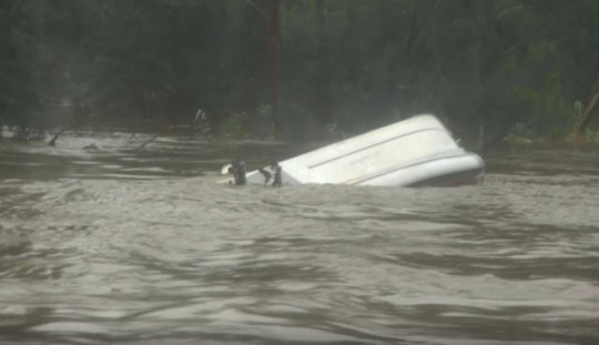 Family rescued from flooding twice after boat capsizes in strong currents