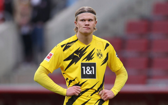 Erling Haaland of Dortmund reacts during the Bundesliga match between 1. FC Koeln and Borussia Dortmund at RheinEnergieStadion on March 20, 2021 in Cologne, Germany.