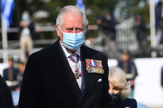 The Prince of Wales during a wreath laying ceremony at the Memorial of the Unknown Soldier in Syntagma Square, Athens, during a two-day visit to Greece to celebrate the bicentenary of Greek independence. Picture date: Thursday March 25, 2021. PA Photo. See PA story ROYAL Charles. Photo credit should read: Victoria Jones/PA Wire