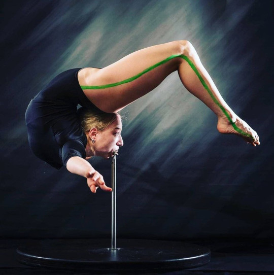 Anastasia has learned to perform the Marinelli bend - the most difficult posture in contortion