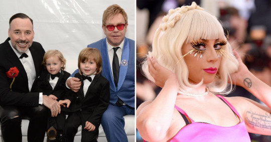 Sir Elton John and David Furnish with sons pictured separately with Lady Gaga on red carpet