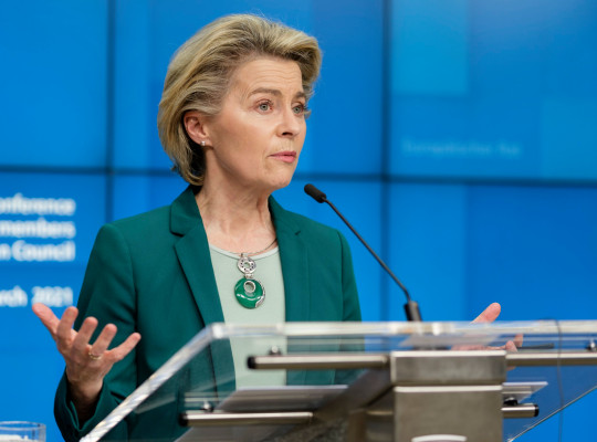 BRUSSELS, BELGIUM - MARCH 25: President of the European Commission Ursula von der Leyen is talking to media at the end of a virtual EU Leader summit in the Justus Lipsius, the EU Council headquarter on March 25, 2021 in Brussels, Belgium. On the Covid-19 crisis, the leaders declare: 'Accelerating the production, delivery and deployment of vaccines remains essential and urgent to overcome the crisis. Efforts to this end must be further intensified. We underline the importance of transparency as well as of the use of export authorisations. We recognise the importance of global value chains and reaffirm that companies must ensure predictability of their vaccine production and respect contractual delivery deadlines. We confirm the pro-rata population key for the allocation of vaccines. We invite the Committee of Permanent Representatives to address the issue of the speed of deliveries of vaccines when allocating the 10 million BioNTech-Pfizer accelerated doses in the second quarter of 2021 in a spirit of solidarity.' (Photo by Thierry Monasse/Getty Images)