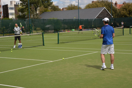 Tennis players enjoying getting back on the courts at Canoe Lake Leisure, Southsea, which reopened today after the lifting of coronavirus lockdown restrictions on some leisure activities - including tennis, water sports, angling and golf. PA Photo. Picture date: Wednesday May 13, 2020. See PA story HEALTH Coronavirus. Photo credit should read: Ben Mitchell/PA Wire