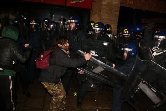 Protestors and police officers in Bristol city centre for the third 'Kill the Bill' protest against new policing powers, March 26 2021. Both previous protests have been ended with confrontations with riot police.
