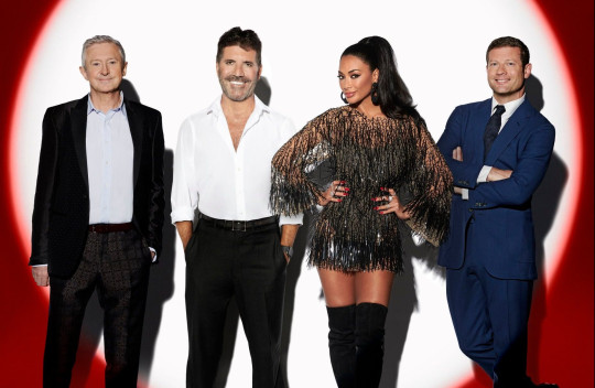 Louis Walsh, Simon Cowell and Nicole Scherzinger on The X Factor Celebrity judging panel with Dermot O'Leary as host