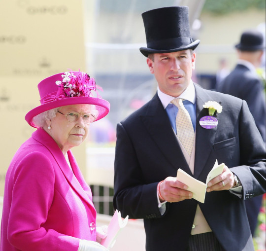 ASCOT, ENGLAND - JUNE 20: Queen Elizabeth II and Peter Phillips attend day four of Royal Ascot 2014 at Ascot Racecourse on June 20, 2014 in Ascot, England. (Photo by Chris Jackson/Getty Images for Ascot Racecourse)
