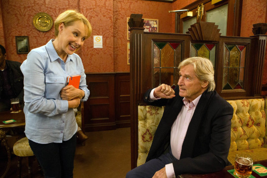 Editorial use only Mandatory Credit: Photo by ITV/REX/Shutterstock (8961951bt) Sally Metcalfe, as played by Sally Dynevor, discusses her political stance with Ken Barlow, as played by William Roache, and having decided to stand as an Independent, steamrollers Ken into agreeing to be her campaign manager (Ep 8823 - Fri 22nd Jan 2016). 'Coronation Street' TV Series - Jan 2016