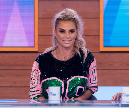 Editorial use only Mandatory Credit: Photo by Ken McKay/ITV/REX (10346980aj) Katie Price 'Loose Women' TV show, London, UK - 25 Jul 2019 Katie Price announces her engagement to Kris Boyson exclusively on today's Loose Women.
