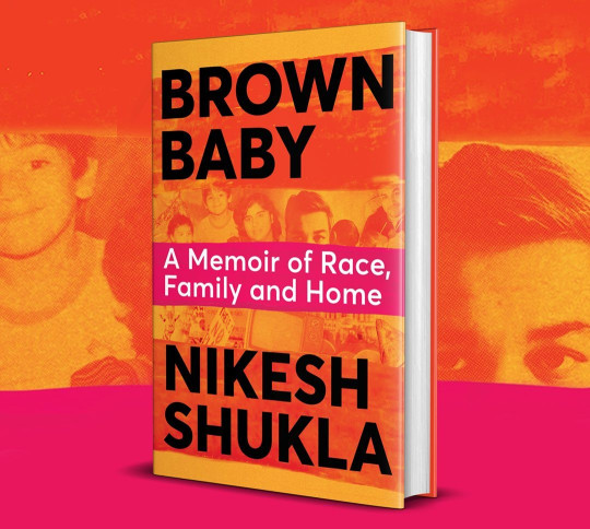 Image of Brown Baby which is covered in orange and pink with pics of Nikesh and his family