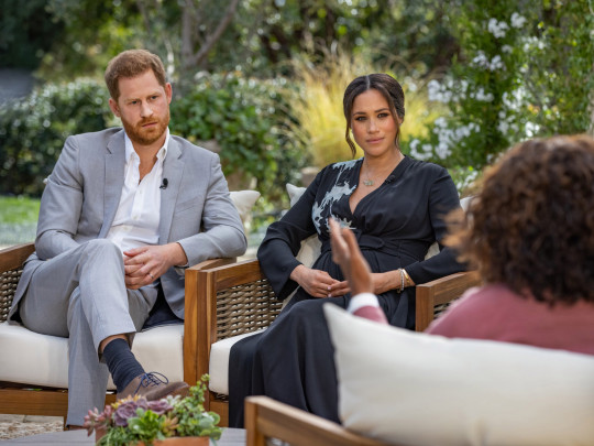 UNSPECIFIED - UNSPECIFIED: In this handout image provided by Harpo Productions and released on March 5, 2021, Oprah Winfrey interviews Prince Harry and Meghan Markle on A CBS Primetime Special premiering on CBS on March 7, 2021. (Photo by Harpo Productions/Joe Pugliese via Getty Images) - 9361437