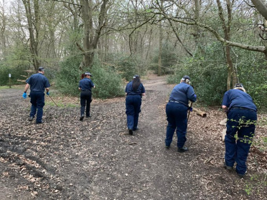 Officers searching Epping Forest in Loughton as part of the investigation into the disappearance of missing 19-year-old Richard Okorogheye.