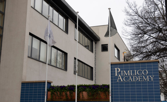 Date : 01/04/21 Pictured: Flag poles at Pimlico Academy Caption: Flag poles at Pimlico Academy