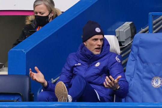 Thomas Tuchel looks on during Chelsea's defeat to West Brom