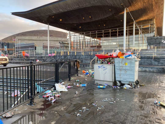 Cardiff Bay again left under piles of rubbish after hundreds gather to party