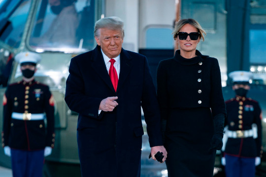 Donald and Melania Trump during their final day in office