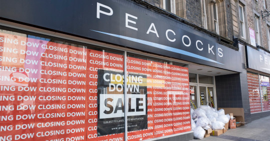 Closed down shop Peacocks on the High Street due to economic downturn and recession on 16th September 2020 in Bangor, Wales, United Kingdom. Bangor high street has struggled over recent years as more and more shops close, but this is now being compounded by the Coronavirus epidemic as retail becomes more difficult to sustain in low population towns. Bangor is a cathedral city and community in Gwynedd, northwest Wales. It is the oldest city in Wales. Historically part of Caernarfonshire. (photo by Mike Kemp/In Pictures via Getty Images)