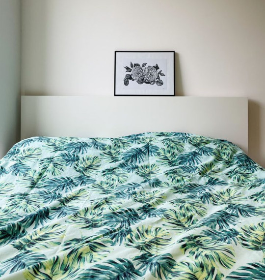 What I Rent: Clara and Florian - leaf print bedding in bedroom