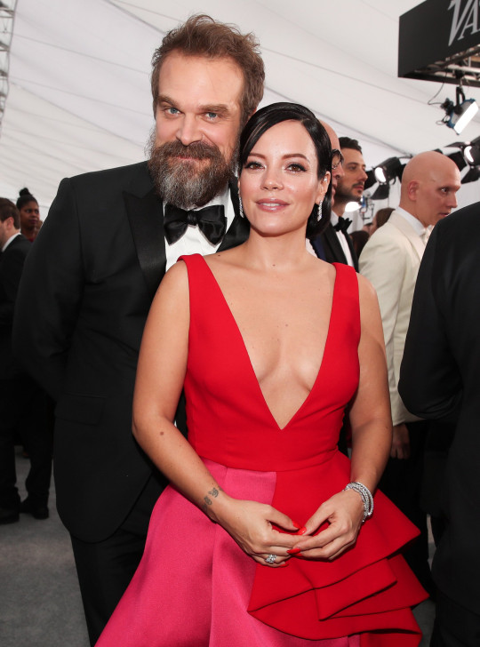 Mandatory Credit: Photo by Christopher Polk/People/REX (10525969hf) David Harbour and Lily Allen 26th Annual Screen Actors Guild Awards, Arrivals, Shrine Auditorium, Los Angeles, USA - 19 Jan 2020