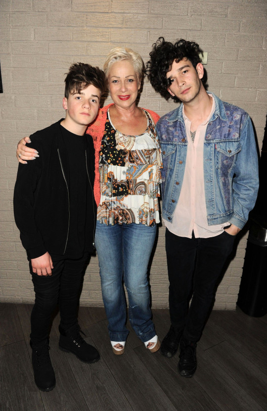 Mandatory Credit: Photo by John Fraser/REX/Shutterstock (4771638e) Matt Healy, Denise Welch and Louis Healy 'The Ancient Secret of Youth and the Five Tibetans' play press night, Octagon Theatre, Bolton, Britain - 05 May 2015