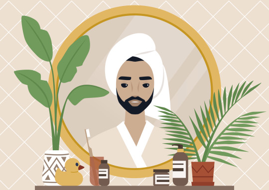 A mirror reflection, a Young bearded male character wearing a towel wrapped at the side of their head, daily body care routine, boho interior, natural patterns and plants