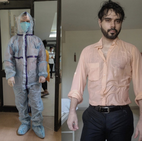 Dr Sohil Makwana in his PPE and sweat-drenched salmon shirt
