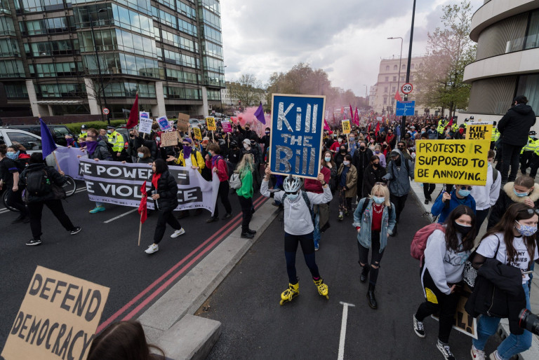 Mandatory Credit: Photo by WIktor Szymanowicz/NurPhoto/REX (11885518aw) LONDON, UNITED KINGDOM - May 01, 2021: Demonstrators march through central London as they take part in 'Kill the Bill' protest to oppose government's Police, Crime, Sentencing and Courts Bill (PCSC Bill), which would give police officers and the Home Secretary new powers to impose conditions on protests and public processions, on 01 May, 2021 in London, England. The protest organised by a coalition of different groups including Black Lives Matter and Women's Strike Assembly is part of a national day of action with at least 46 protests happening across the UK on International Workers' Day. May Day 'Kill The Bill' Protest In London, United Kingdom - 01 May 2021