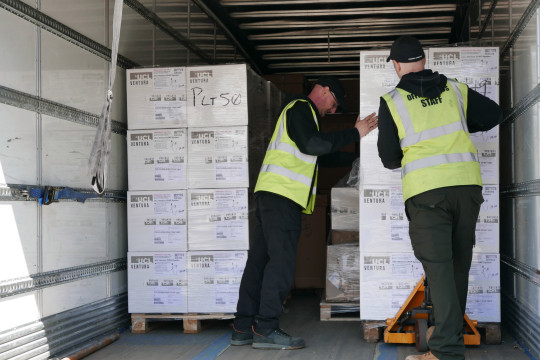 Handout photo dated 25/04/21 of ventilators being loaded before being shipped from the UK to India in response to the coronavirus crisis. Britain is to send more than 600 pieces of urgently-needed medical equipment to India following the devastating surge in coronavirus cases which has overwhelmed the country's health services. Issue date: Tuesday April 27, 2021. PA Photo. See PA story HEALTH Coronavirus India. Photo credit should read: Foreign, Commonwealth & Development Office/PA Wire NOTE TO EDITORS: This handout photo may only be used in for editorial reporting purposes for the contemporaneous illustration of events, things or the people in the image or facts mentioned in the caption. Reuse of the picture may require further permission from the copyright holder.