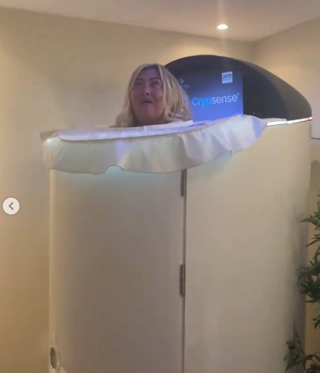 Gemma Collins in a cryotherapy chamber