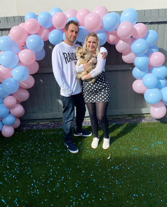 Lisa, Dan and Beau at their gender reveal, where they found out they having a boy