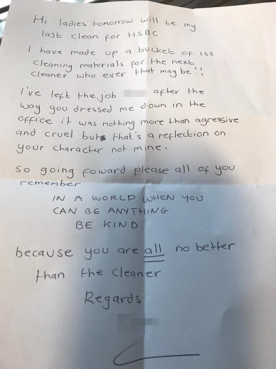 Cleaner leaves note for 'awful' boss